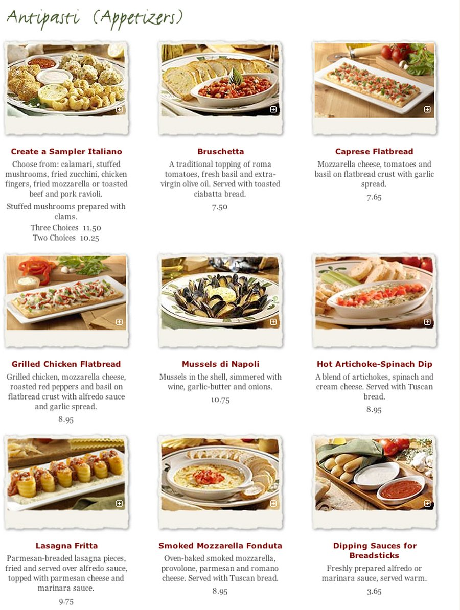 Online Menu for Olive Garden in Palo Alto California United States